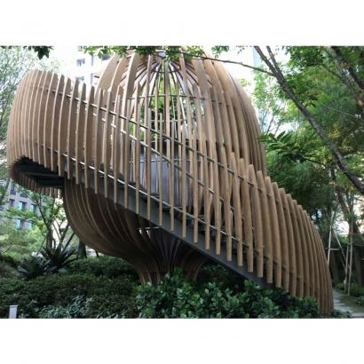 GRC噴漆仿木質感樹屋